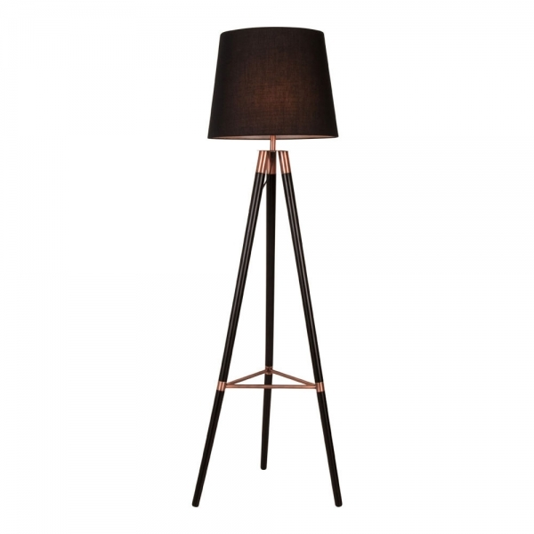 schwarz holz kupfer arlington tripod lampe moderne lichter. Black Bedroom Furniture Sets. Home Design Ideas