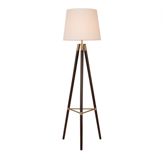 Cult Living Arlington Holz Tripod Bodenlampe, Walnuss und Gold