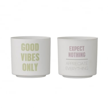 Bloomingville Set aus 2 Votivkerzen Becher, Good Vibes