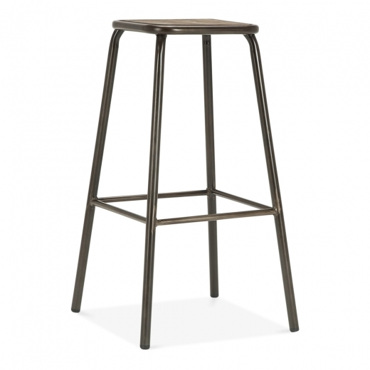 Cult Living Brooklyn Hocker mit Holzsitz - Rustikal 75cm