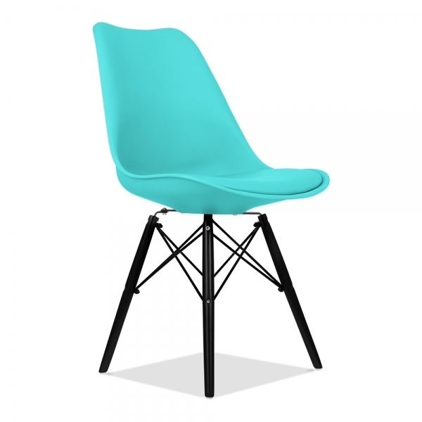 dsw style plastic dining chair soft pad seat turquoise