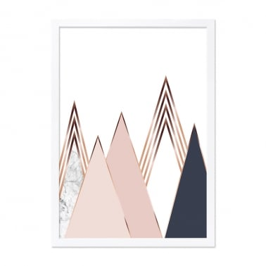 Gold Triangle Print Marble Framed Poster