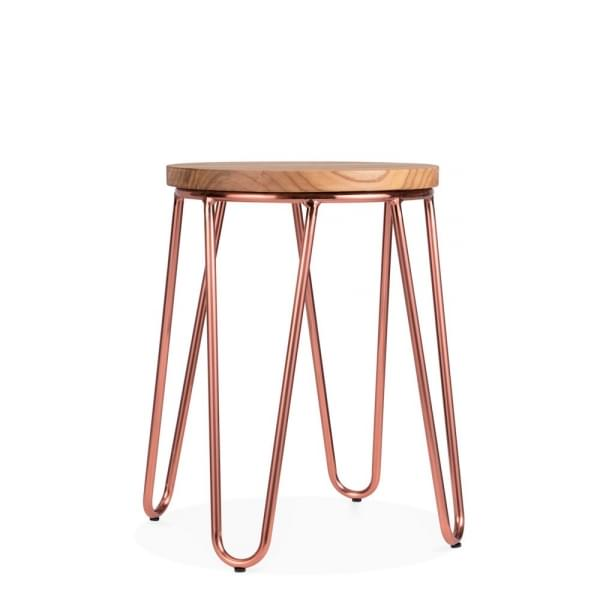 Hairpin Metal Low Stool With Natural Wood Seat Copper 46cm Cult Uk