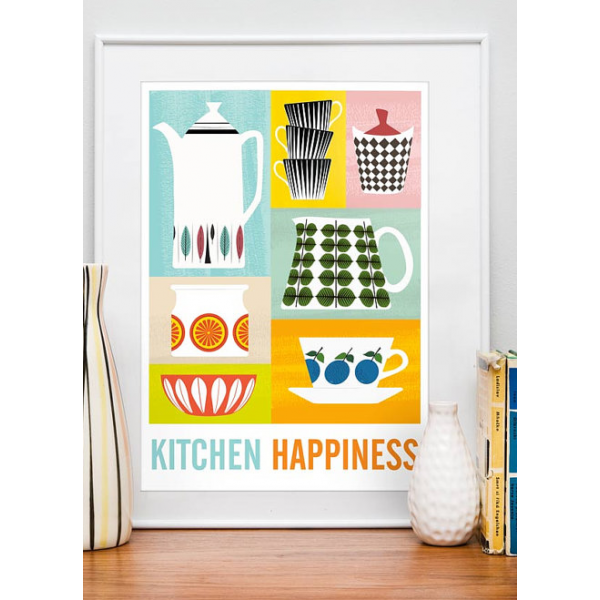 Kitchen Happiness Retro Print   Quirky Prints & Posters   Cult UK