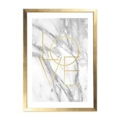 Marmor Love Print Gerahmtes Poster, Marmor & Gold, A2