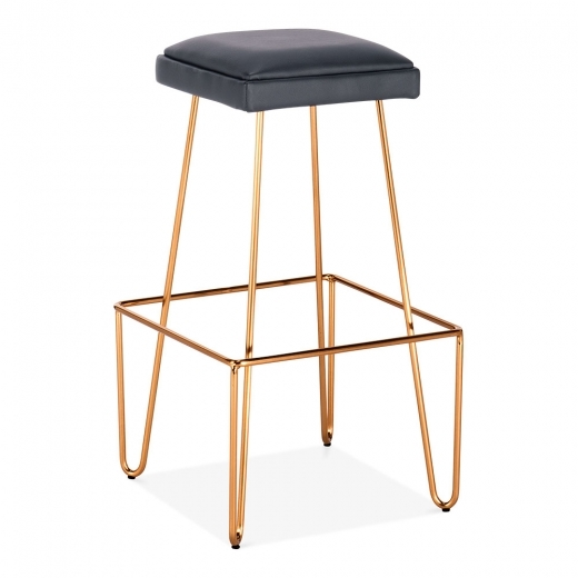 Cult Living Newton Metall Bar Hocker mit Leder Gepolstert Sitz, Messing 76cm