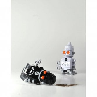 Salt & Pepper wind up robots - Black