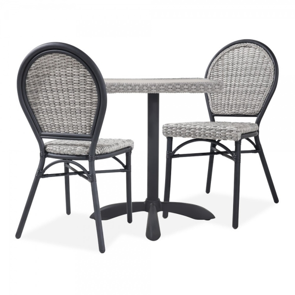graues rattan seymour 3 teiliges bistro set outdoor m bel. Black Bedroom Furniture Sets. Home Design Ideas