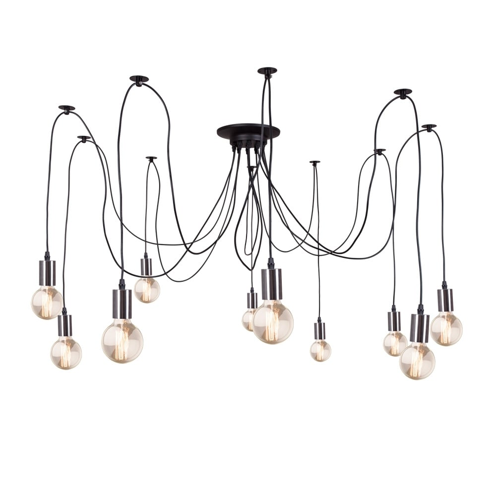 edison spider lamp in chrome contemporary modern chandelier cult. Black Bedroom Furniture Sets. Home Design Ideas