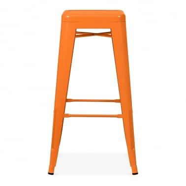 Tolix Pulverbeschichteter Hocker - Orange 75cm