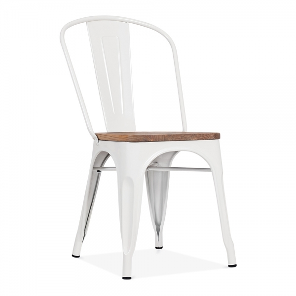 Tolix Stuhl white side chair with elm wood seat cult furniture