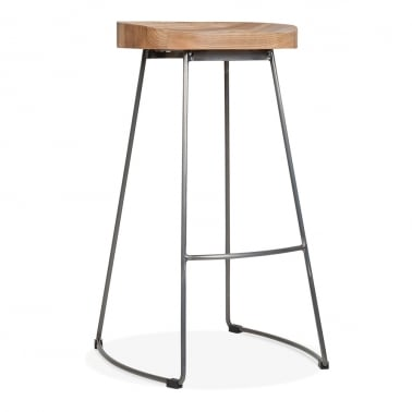Victoria Metall Hocker mit Holz Sitz Option - Rotguss 75cm