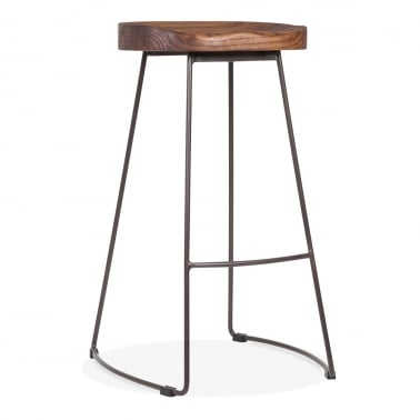 Victoria Metall Hocker mit Holz Sitz Option - Rustikal 75cm