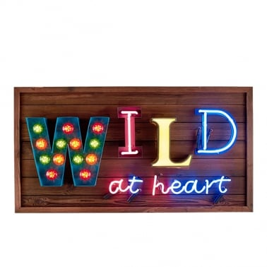 Wild at Heart LED Birnen Schild